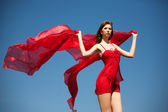 The beautiful girl in the red — Stock Photo