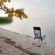 Deckchair on the lake — Stock Photo