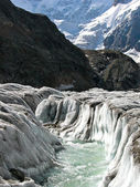 Bezengiyskaya glacier in the Caucasus — Stock Photo