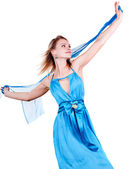 Portrait of a beautiful young blonde blue dress — Stock Photo