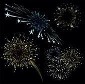 Fireworks set vector — Stock Vector