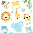 Cute vector baby animals — Stock Vector