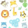 Stock Vector: Cute vector baby animals