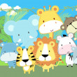 Stock Vector: Baby jungle animals vector