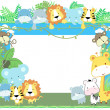 Vetorial Stock : Cute vector baby animals frame jungle theme