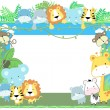 ストックベクタ: Cute vector baby animals frame jungle theme