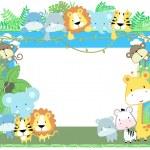 Cute vector baby animals frame jungle theme — Stock Vector