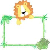 Cute baby lion frame vector — Stock Vector