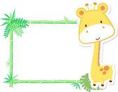 Cute baby giraffe frame vector — Stock Vector