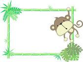 Schattige baby aap frame vector — Stockvector