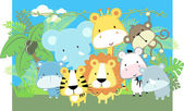 Baby jungle animals vector — Stock Vector