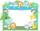 Los animales bebé mono vector marco tema de la selva — Vector de stock