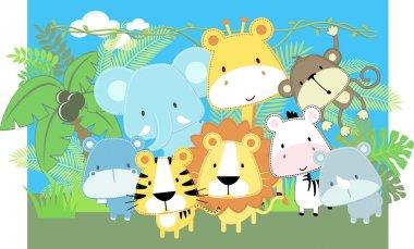 Baby jungle animals vector
