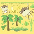 Jungle cartoon vector design elements - Stock Vector