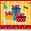 Stock Vector: Christmas gift boxes greeting card