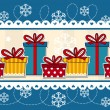 Christmas banner gift boxes — Stock Vector
