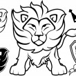 Lion vector designs elements — Stock Vector