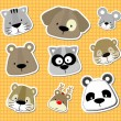 Animal baby vector stickers - Stock Vector