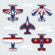 Airplanes cartoon vector collection — Stock Vector
