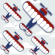 Biplane cartoon pattern — Stock Vector