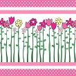 Cute Flowers border — Stock Vector