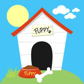 Dog house cartoon — Stock Vector