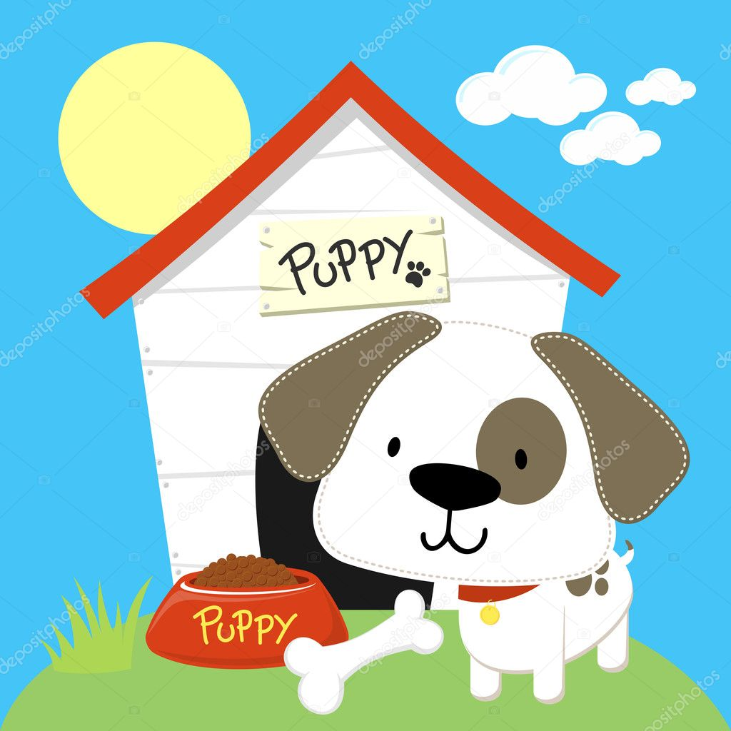 Cute House Cartoon Cute Puppy And Dog House