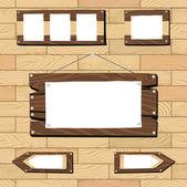 Szyldy i drewniane obiekty na podłogi bez szwu — Wektor stockowy
