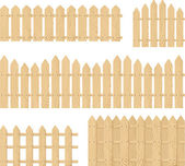 Wooden fence vector set isolated — Stock Vector