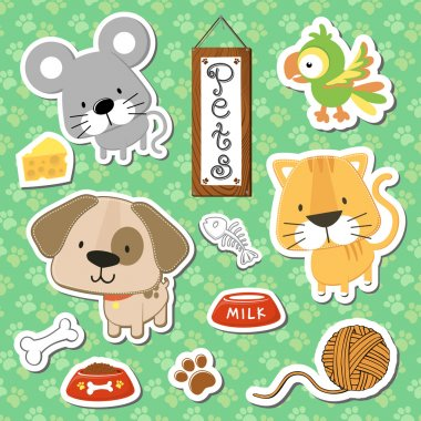 Baby little pets vector collection
