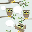 Owls cartoon chat — Stock Vector
