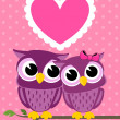 Cute love owls greeting card — Stock Vector #26684213