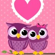 Stock Vector: Cute love owls greeting card