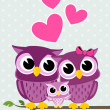 Cute owls family — Stock vektor #26684235