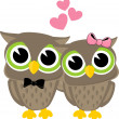 Royalty-Free Stock Vector Image: Cute love birds owls