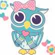 Cute baby girl owl applique — Stock Vector