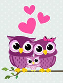 Cute owls family — Stock Vector