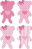 Teddy bear applique for baby girl — Stock Vector