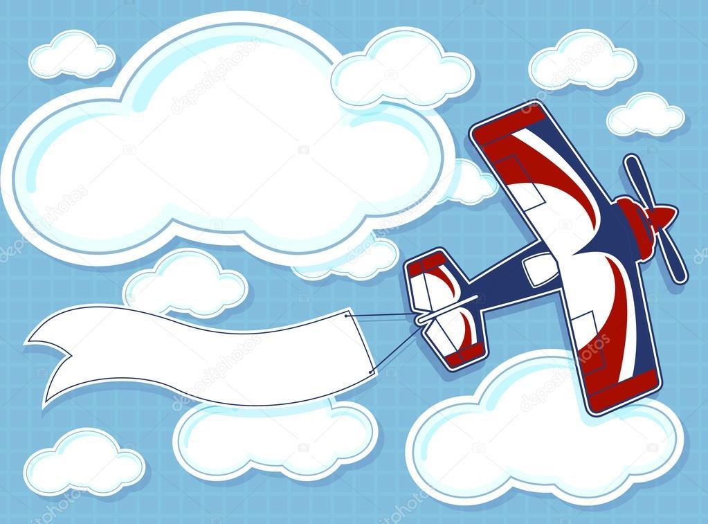 Cartone animato aereo con striscione bianco su blu