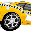 Stock Vector: Funny fast taxi car cartoon
