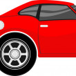 Funny red car cartoon — Stock Vector