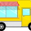 Food bus with awning — Stock Vector