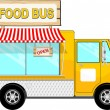 Food bus with awning cartoon — Imagen vectorial
