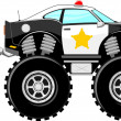 Stock Vector: Monstertruck police car 4x4 cartoon