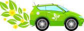 Dibujos animados de coche ecológico — Vector de stock