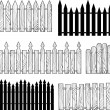 Wooden b&w fences silhouettes vector — Stock Vector #27642921