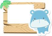 Baby hippo scrapbook background — Stock Vector
