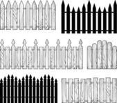 Wooden b&w fences silhouettes vector — Stock Vector
