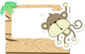 Baby monkey sign board — Stock Vector