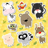 Cute baby animals cartoon vector collection — Stock Vector